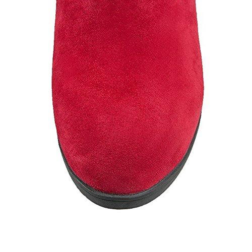 Voguezone009 Femmes Pull Talon Moyen En Plastique Pur Bout Rond Bottes Rouges