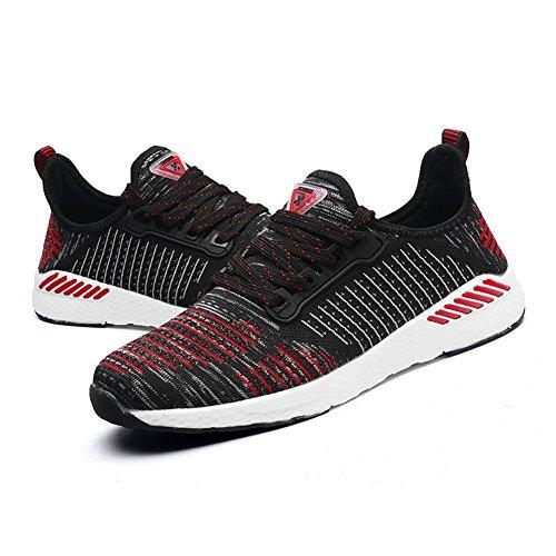 Gomnear Sneaker Respirant Hommes Femmes Fonctionnement Poids Léger Couple Décontractée Engrener en Marchant Athlétique Sport Chaussures Rouge