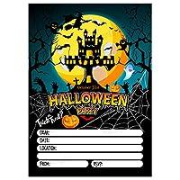 Halloween Spooky Party Invitations, Set of 20 Invites, Skeleton Zombie Pumpkin Kids, Children