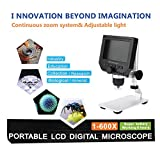 Fit G600 Portable 1-600X Continuous Magnification 4.3 LCD Display 3.6MP Electronic Digital Microscope with Adjustable Metal Stand