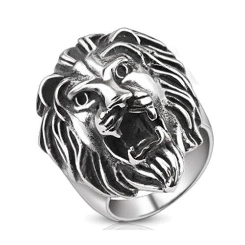 BlackAmazement Edelstahl Ring brüllender Löwe Loewe Lion Sternzeichen Biker silber Herren (65 (20.7)) Herren-lion-ringe Aus Edelstahl