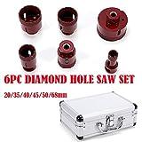 Rot Edition - Diamant Fliesenbohrer-/Bohrkronen Profi Set Diamant Fliesen Bohrkronen 6 tlg. (Ø 20-68 mm) M14 für Winkelschleifer Fliesen, Granit, Feinsteinzeug Fliesenbohrer