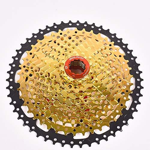LJPzhp-Cassettes Hyperglide Kassette Mountainbike Schwungrad mit Variabler Geschwindigkeit 10 Geschwindigkeit 11-42T 50T Wide Tooth Large Flywheel Climbing Gear Card (Farbe : Gold, Größe : 11-50T) -