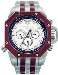 TECHNO Sport Hombre Chrono Reloj–Plata/Marrón