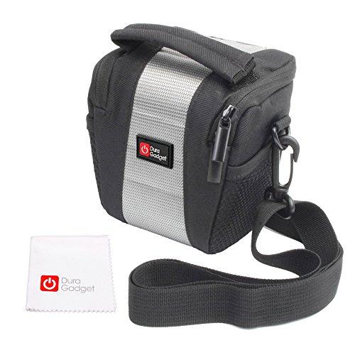 DuraGadget Weich gepolsterte Tasche mit Schultergurt + Reinigungstuch für die Fujifilm FinePix T500, Nikon Coolpix A10 / S5300 Compact Digital Camera, Panasonic Lumix DMC-TZ70EB-K und Polaroid IS525