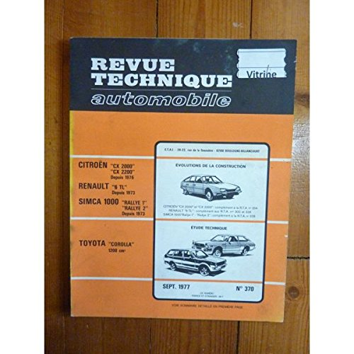 RTA0370 - REVUE TECHNIQUE AUTOMOBILE TOYOTA COROLLA 1200 cm3