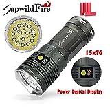 Sisit 50000 lumens, 15x XM-L T6 LED Lampe de poche Supwildfire. Construire dans l'affichage numérique pour la batterie. Imperméable avec le cas d'alliage d'aluminium (Argent)