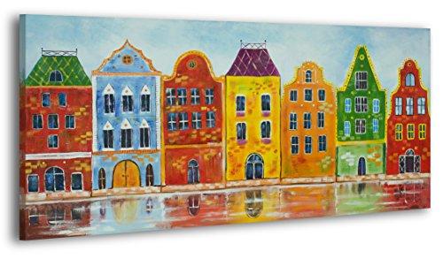 YS-Art Acryl Gemälde Traum Stadt II | Handgemalt | 120x60cm | Wand Bild | Moderne Kunst | Leinwand | Unikat | mehrfarbig -