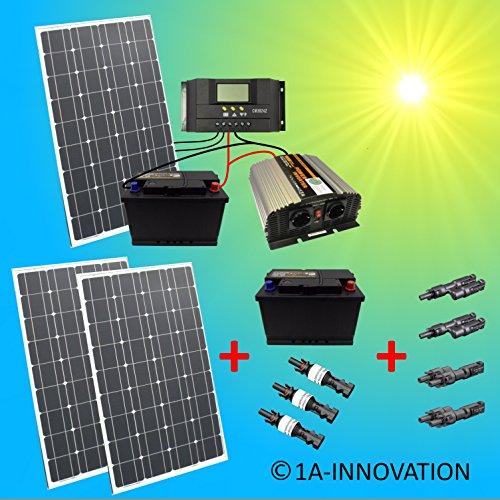 Komplette 220V Solaranlage TÜV mit 2x 100Ah Akku + 3x 100W Solarmodul 300W + 1000W Spannungswandler...