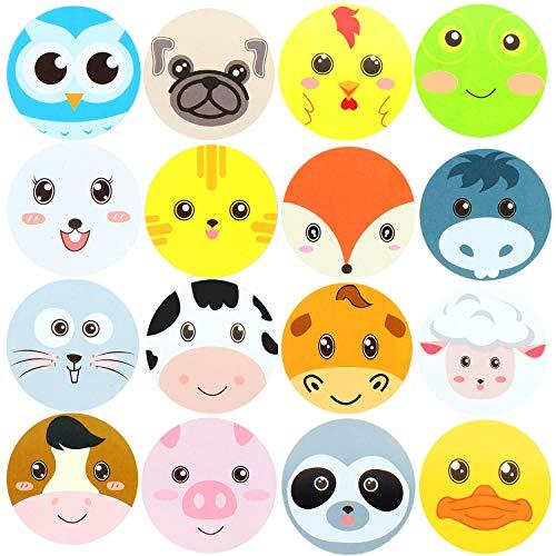 Hsei 500 Stücke Bauernhof Gesicht Tier Aufkleber Zoo Perforierte Aufkleber Wald Freunde Tier Rolle Aufkleber für Kinder Party Bevorzugung Baby Dusche (Freund Rollen)