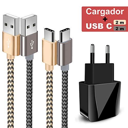 8 - Zeuste-Quick Cargador Móvil con 2 Puertos USB Compatible con la mayoría de Dispositivos móviles,2-Pack 2M Cable USB Tipo C(Gris Gold) para Samsung Galaxy S9/S8+/Nota 8,Sony Xperi,Huawei P9