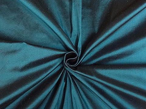 Reine Seide Dupionseide Stoff blau x schwarz 137,2cm by the Yard