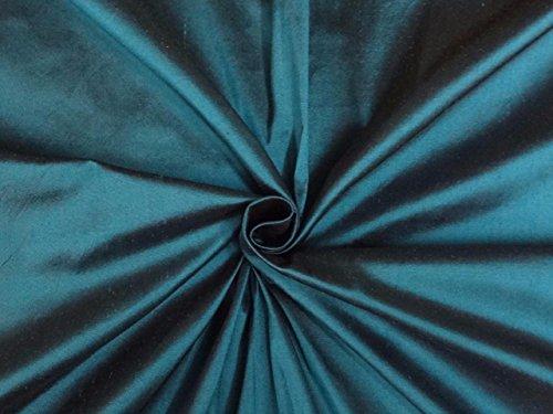 Reine Seide Dupionseide Stoff blau x schwarz 137,2cm by the Yard -