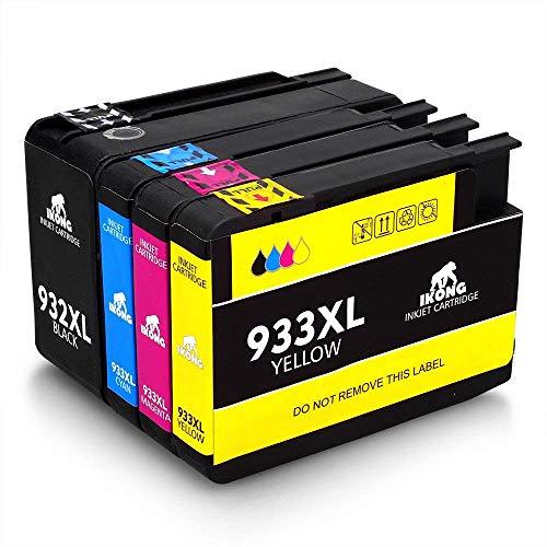 IKONG Compatible HP 932XL HP 933XL 932 XL 933 XL Cartuchos de Tinta, Alto rendimiento, Trabajar con HP Officejet 7110 7612 6700 7610 6600 6100 Impresora, 4 Paquetes-1 Negro 1 Cian 1 Magenta 1 Amarillo