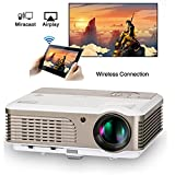Wifi Projector,EUG DVB-T Home Cinema Projectors with HDMI USB VGA AV/TV 2600 Lumen Wireless for iPad/iPhone/Laptop/Smartphone LED LCD Android Beamer Airplay Miracast