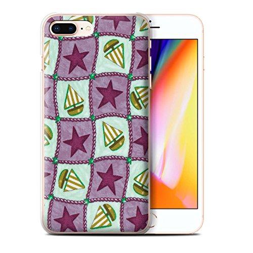 Stuff4 Hülle / Case für Apple iPhone 8 Plus / Rot/Grün Muster / Boote und Sterne Kollektion Violett/Grün
