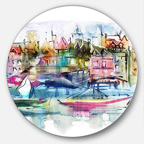 Art-design designart Häuser und Boote Abstrakt Querformat groß Metall Wand Kunst, 96,5x 96,5cm Pink/Gelb/Blau