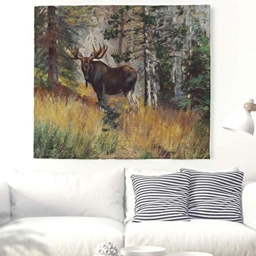 CHSUNHEY Tapiz Watercolor Wild Elk Forest Wall Tapestry Decorative Autumn Forest Trees Landscape Painting Wall Art Tapestry Beautiful Nature Wall Blanket Bohemian Hippie Beach Throw Wall Hanging Whi
