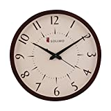 #4: Solimo 11.25-inch Wooden Wall Clock (Silent movement, Dark Brown Frame)