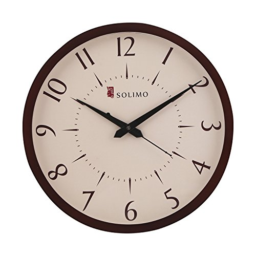 Solimo 11.25-inch Wooden Wall Clock (Silent movement, Dark Brown Frame)