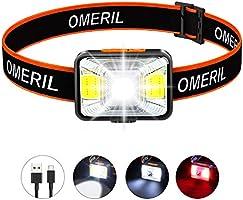 OMERIL Linterna Frontal LED USB Recargable, Linterna Cabeza Super Brillante, 5 Modos de Blanco y Rojo Luz, IPX5...