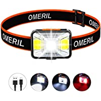 LED Head Torch,OMERIL USB Rechargeable Headlamp with Super Bright 200 Lumens,5 Lighting Modes,White&Red Light,IPX5 Waterproof Headlight for Kids Adults,Running,Dog Walking,Cycling,Camping,Fishing