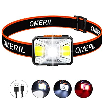 OMERIL LED Head Torch, USB Rechargeable Headlamp with Super Bright 200 Lumens,5 Lighting Modes,White&Red Light,IPX5 Waterproof Headlight for Kids Adults,Running,Dog Walking,Cycling,Camping,Fishing 1