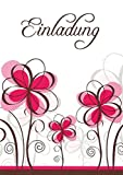 Einladungskarten mit Innentext Motiv: Rosa Blumen 25 Klappkarten DIN A6 mit weißen Umschlägen im Set Einladung für jeden Anlass Hochzeit Geburtstag Party Taufe Kommunion Konfirmation Jugendweihe (K15)