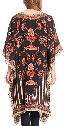 Sakkas Kristy lang hoch Leichte Kaftan Kleid / Vertuschung mit V-Ausschnitt Juwelen 17121-BlackWhite