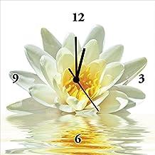 Reloj De Pared Digital de impresión sobre lienzo sobre marco de madera gespannt geräuscharmes el reloj de gran calidad de Dev flor de Lotus Flota En el Agua tamaño 30x 30x 2,8cm
