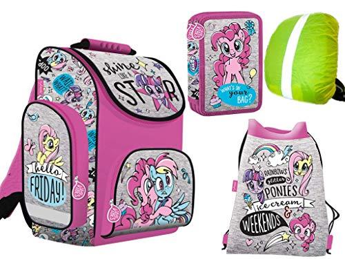 4-teiliges Schulranzenset My Little Pony Ponies Schulranzen, 2-fache gefüllte Federtasche, Schuhbeutel, Ranzen Regenschutz - Little My Gefüllt Pony-spielzeug