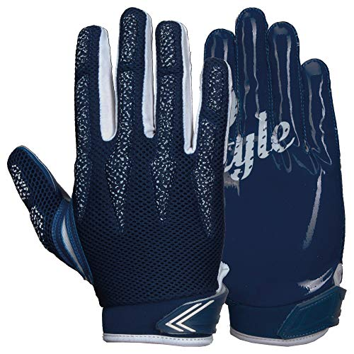 Prostyle Arrow, leicht gepolsterte Football Receiver Handschuhe - Navy Gr. L