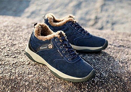 Suetar Calde Scarpe da Trekking da Uomo Scarpe da Ginnastica Outdoor in Pelle Scamosciata Autunno e Inverno Scarpe da Escursionismo Antiscivolo e Resistenti cotton blue