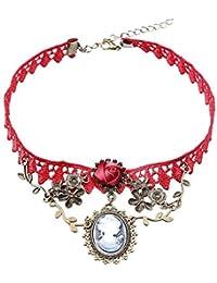 Estilo Europeo Regio Retro Rojo de Encaje Aleación Camafeo Colgante Rosa Roja Hecho a Mano Para Baile de Disfraces Mujeres Collar