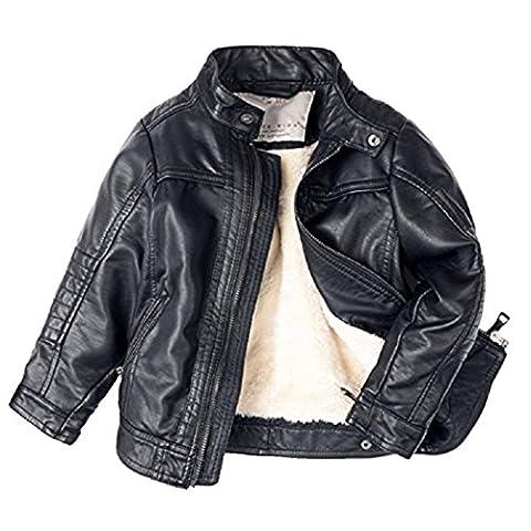 Dehutin Jungen Coole Jacke Mode Gezippt Schwarz Lederjacke Mit Taschen