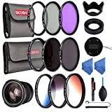 Beschoi 20 in 1 DSLR Camera 52MM Lens Filter Accessory Kit, 9Pcs 52MM Filter Set (UV+CPL+FLD, ND2+ND4+ND8 Neutral Density Filter, Slim Graduated Color Filter Orange Blue Grey), 0.35 x Fisheye Lens+ Petal Lens Hood+Center Pinch Lens Cap + Collapsible Lens Hood+ Microfiber Lens Cleaning Cloth x 2+ Air Blower+ Cleaning Pen + Cap Keeper +Filter Bag Pouch Case£¨3 Slots,6 Slots)