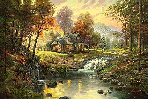 Van Eyck Landschafts-Wandbild, von Thomas Kinkade, ruhig, Hütte in den Bergen, mit Bachlauf, auf Leinwand, (Thomas Kinkade Artwork)