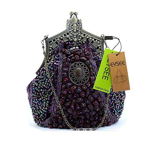 Big Handbag Graines de perles Drops Sac de Soirée de Mariage de la main Knit Conclusion Ballon de Fête Soirée Sac à main Violet - Violet