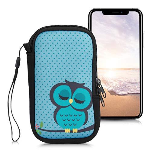 """kwmobile Housse de Protection pour Smartphone M - 5,5"""" - Sacoche de Protection pour Téléphone Portable en Néoprène Turquoise-Marron-Menthe glaciale"""