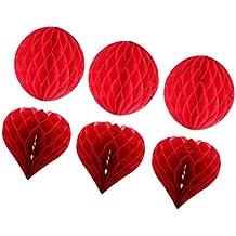 MagiDeal 6pcs / Set Bolas de Panal de Abeja Forma de Corazón 30CM Linternas de Papel Decoración Colgante de Boda de Fiesta de Cumpleaños Rojo