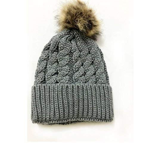 5eba333c5 Arteki Crochet Knit Fur Hat with Real Fox Fur Pom Pom Bobble Winter Beanie  Hat Crochet (Gray)