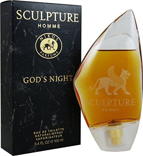 Nikos Sculpture Homme God 's Night 100ml Eau de Toilette Spray für Ihn & Geschenk Tasche