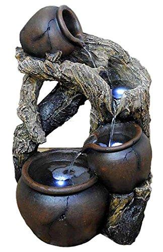 Tischbrunnen Zimmerbrunnen 50 cm Krüge an versteinertem Holz mit Beleuchtung