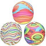 com-four® 3X Kinder Laterne aus Papier in verschiedenen bunten Mustern [Auswahl variiert], Lampion für Kinder, Ø 30 cm (03 Stück - Muster-Mix)