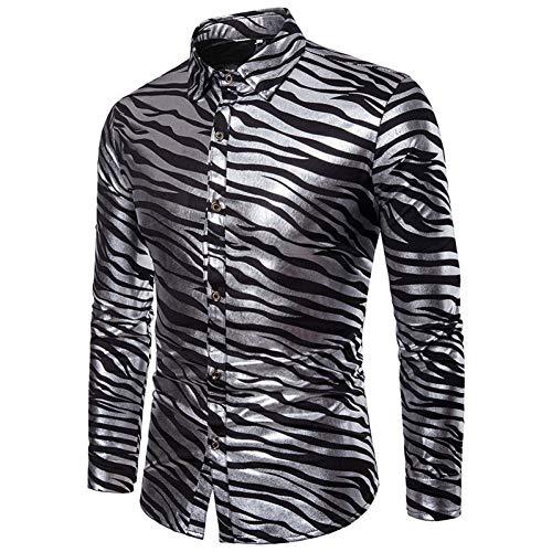 CHENS Camisa/Casual/Unisex/Camisa del Club Nocturno de los Hombres de L Camisas de la Blusa de Las Rayas de la Cebra Que Estampa Las Camisetas de Manga Larga de la Solapa de la Solapa de Las camiset