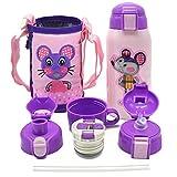 Vakuum Thermosflasche,Doppelwandig Edelstahl Wasserflasche,Isolierflasche für Kinder,Familie 600ml Lila
