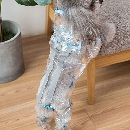 XDYFF Regenmantel Hund Transparente wasserdichte Reflektierendes vierbeiniges Paket wasserdichte Jacken, Mäntel für Kleine Hunde und Welpen,Blue,M -