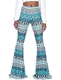 f060602ad994 Hibote Femme Bootcut Pantalon Taille Haute Femmes Pantalon Décontracté  Élégant Pantalon Solide Long Moderne Pantalon Évasé