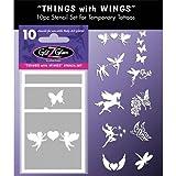 """Kit de modèles pour tatouages temporaires: """"Motifs avec des ailes"""". Tatouages pour enfants, adolescents et adultes."""