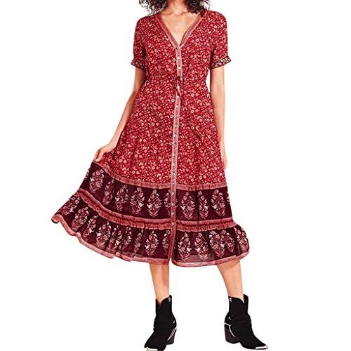 Sommerkleid Damen Knielang Dekoltee V-Ausschnitt Boho Rückenfreies A-Linien Kleid Midikleid -